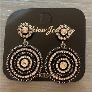 New Drop Circle Earrings w/ Black/SilverRhinestone